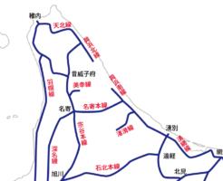 北海道の道北・国鉄時代・路線図